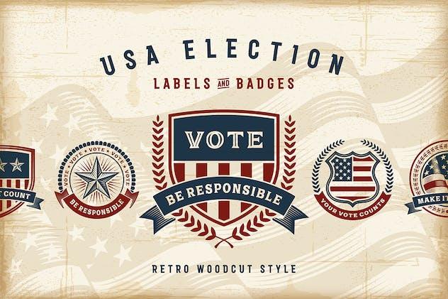 Vintage USA Election Labels & Badges Set