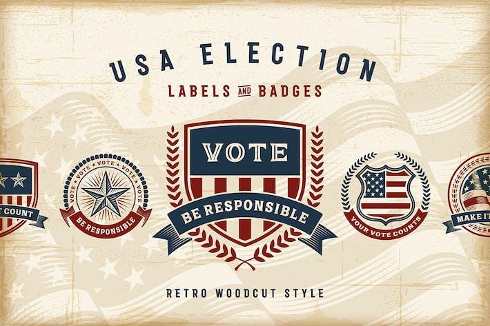 Thumbnail for Vintage USA Election Labels & Badges Set