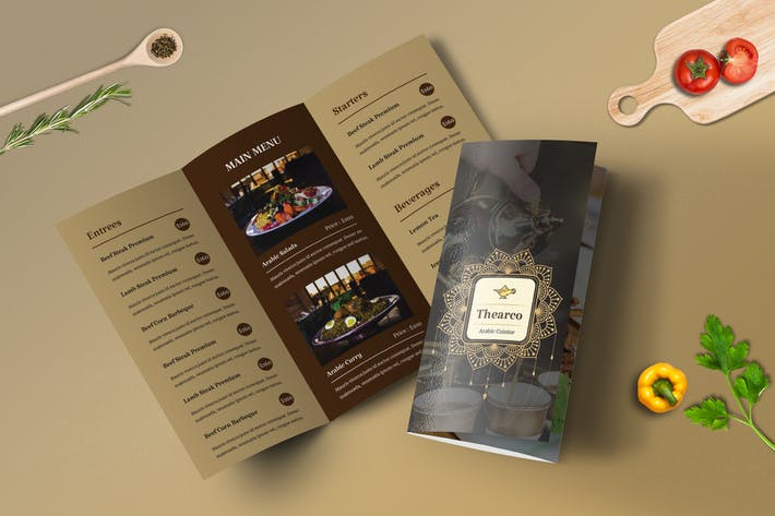 Cover Image For Trifold Restaurant Menu Template