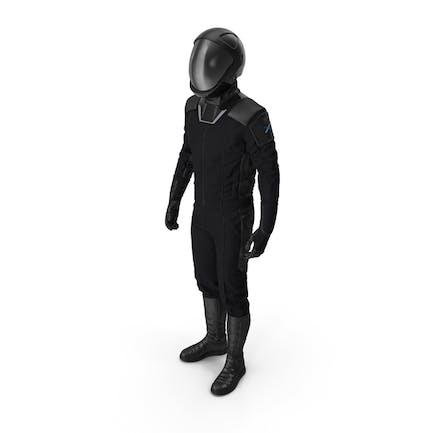 Sci Fi Космический костюм черный стоячая поза