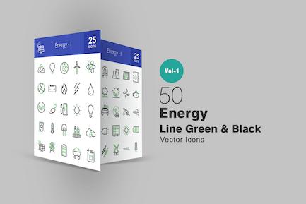 50 Energy Line Green & Black Icons
