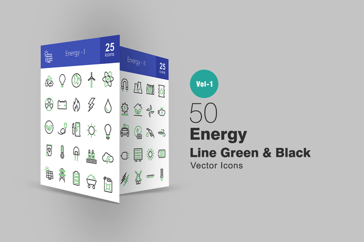 Thumbnail for 50 Energy Line Green & Black Icons