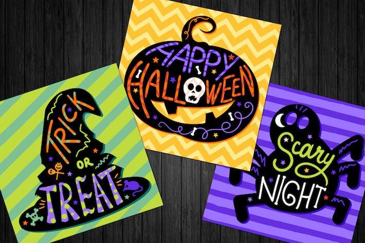 Thumbnail for Happy Halloween Lettering Illustrations Set