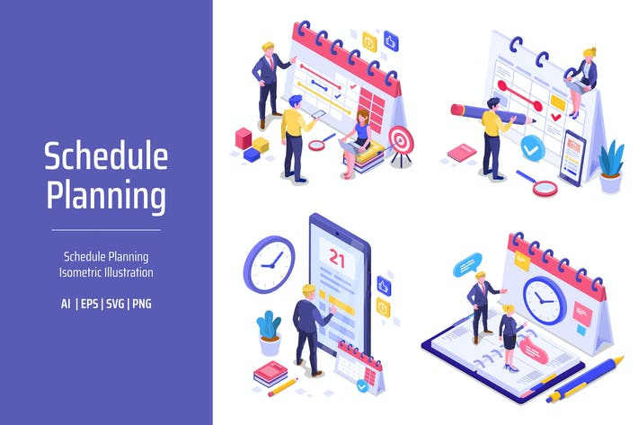 Thumbnail for Ilustración isométrica de planificación de planificación de programas