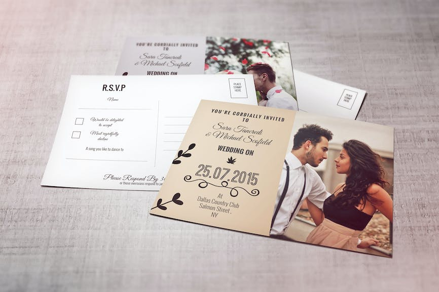 Wedding Invitation Postcard And Rsvp Card By Squirrel92 On