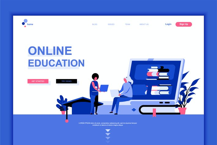 Thumbnail for Online Education Flat Landing Page Template