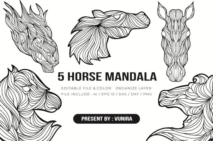 Thumbnail for 5 Horse Mandala   Design Illustration