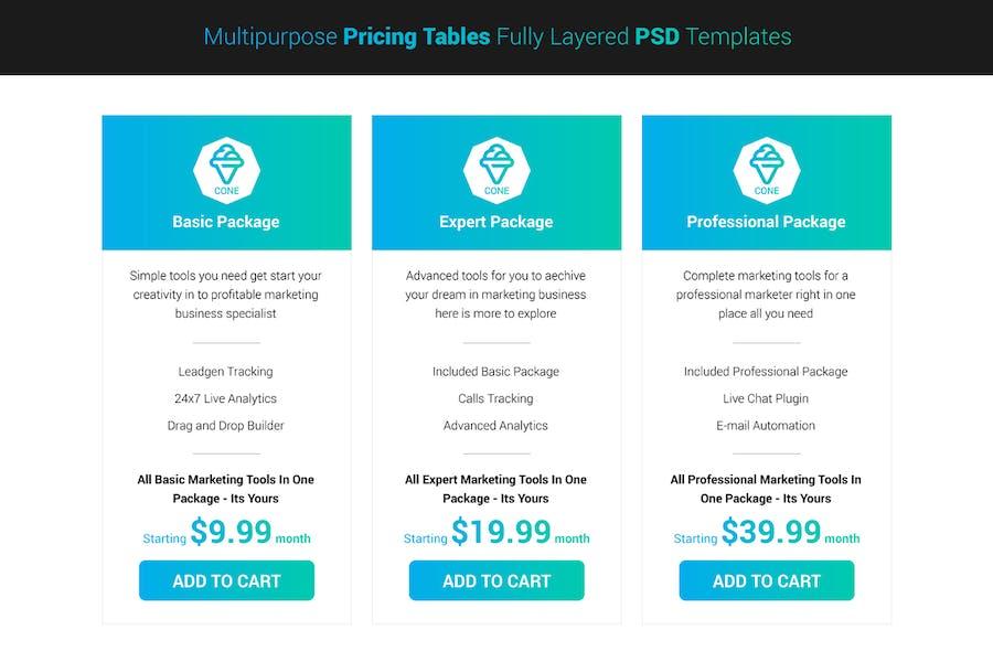 Cone - Multipurpose Clean Pricing Tables