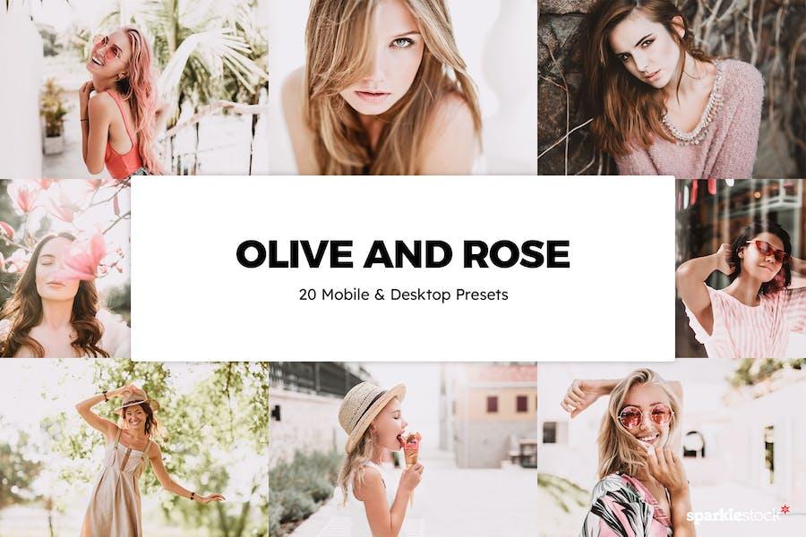 20 Olive and Rose Lightroom Presets & LUTs