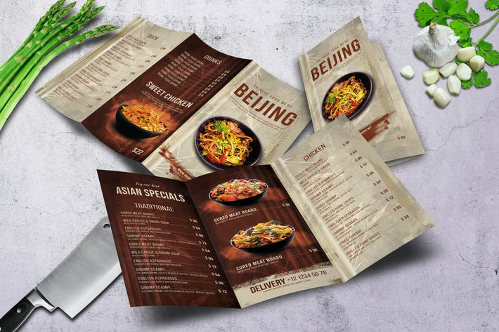 Thumbnail for Chinese Trifold A4 & US Letter Food Menu