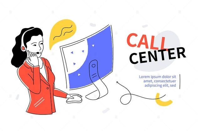 Call center - colorful flat design style banner
