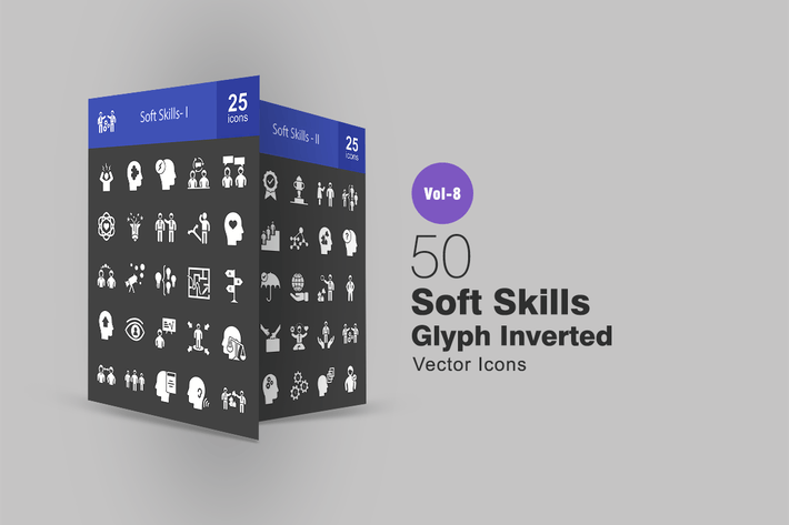 Thumbnail for 50 Soft Skills Glyph Inverted Icons
