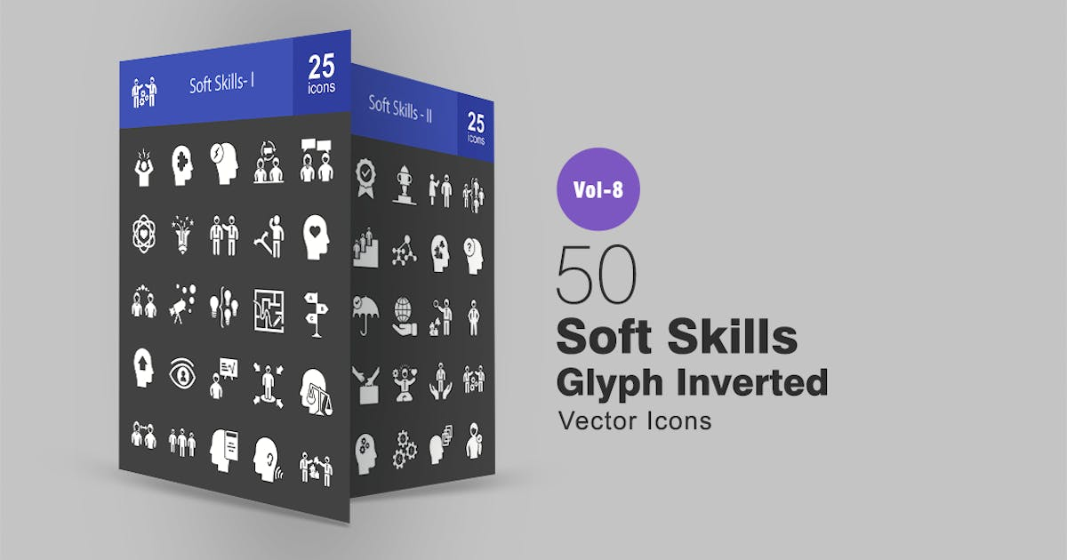 50 Soft Skills Glyph Inverted Icons by IconBunny
