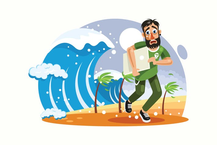Thumbnail for Tsunami Disaster Vector Illustration