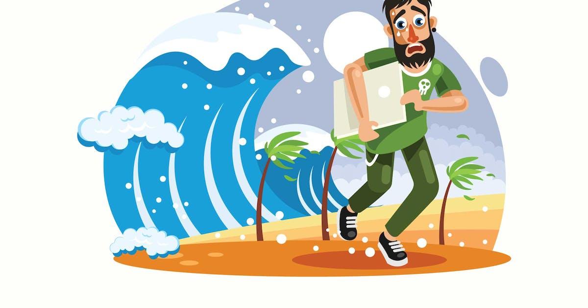 Download Tsunami Disaster Vector Illustration by IanMikraz