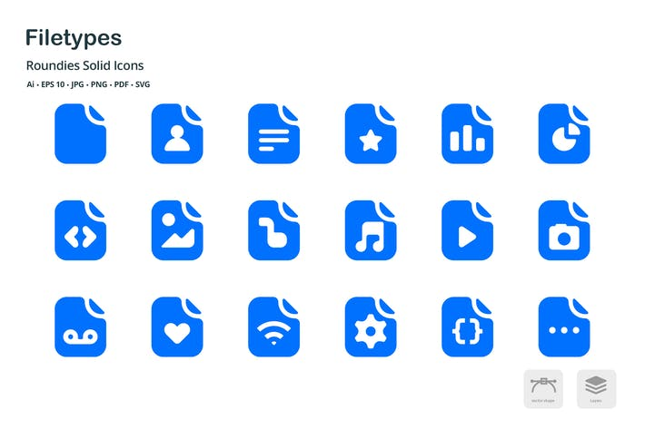 Thumbnail for File Types Roundies Solid Glyph Icons