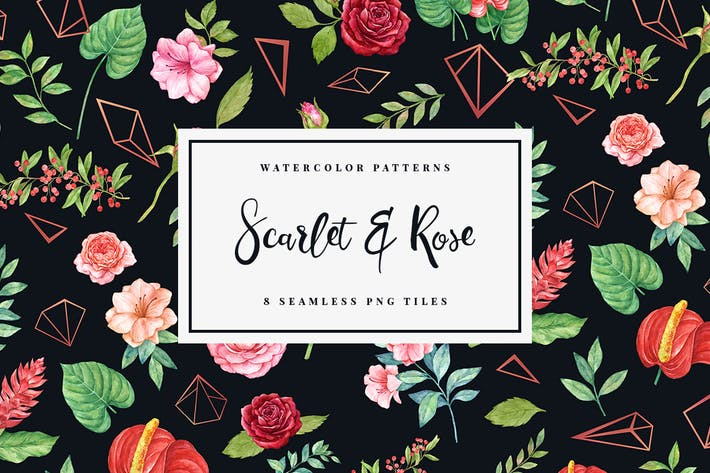 Thumbnail for Scarlet & Rose - Seamless Patterns