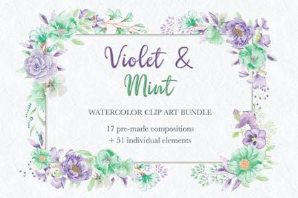 Violett und Mint Aquarell ClipArt Sammlung
