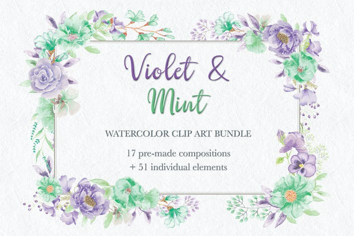 Thumbnail for Violet and Mint Watercolor Clip Art Collection
