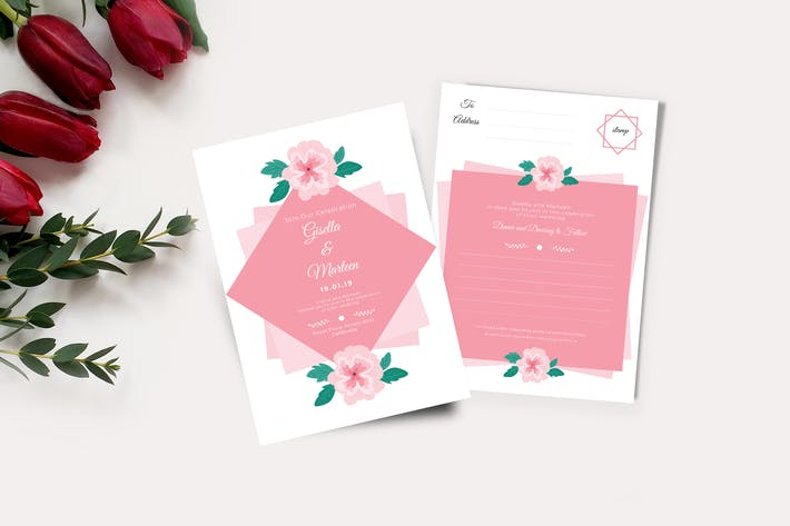 Thumbnail for Wedding Invitation and RSVP Cards