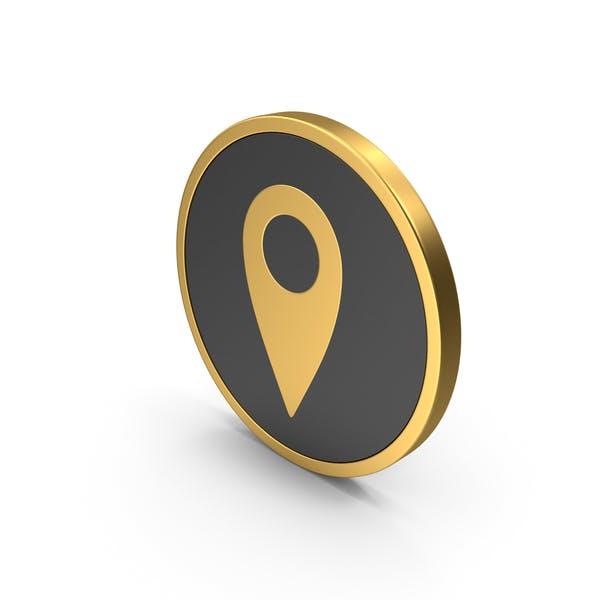 Gold Icon Location Pin