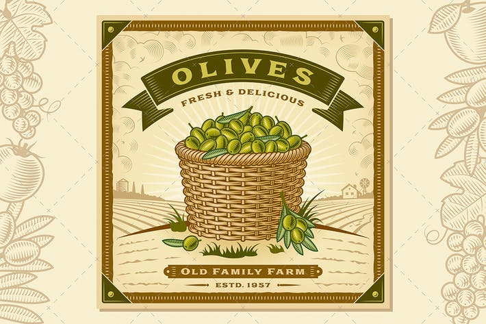 Thumbnail for Retro Olive Harvest Label With Landscape