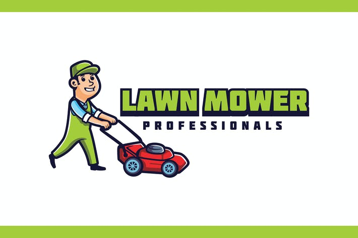 Lawn Mowing and Landscaping Character Mascot Logo
