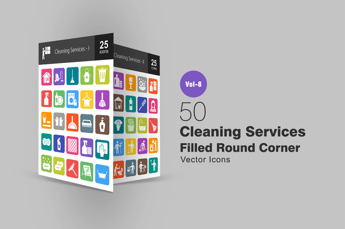 Thumbnail for 50 Cleaning Services Filled Round Corner Icons
