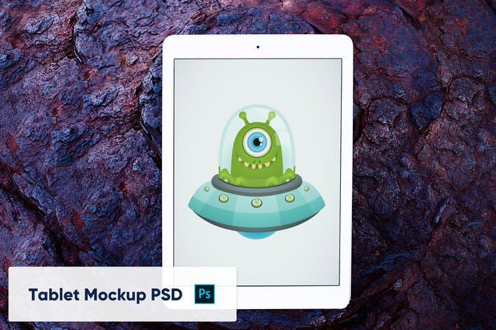 Thumbnail for Tablet on Stone Background - Mockup PSD - Front vi