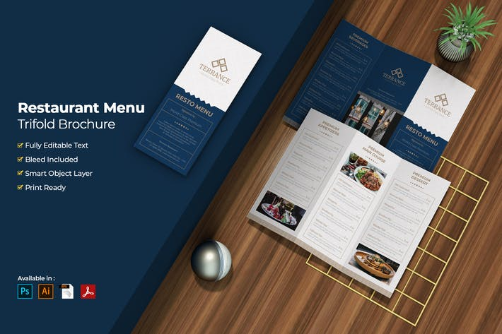 Restaurant Menu Trifold Brochure