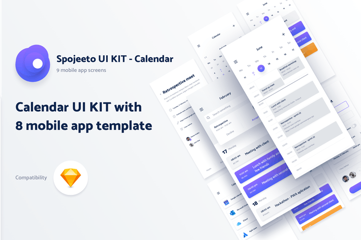 Thumbnail for Spojeeto Calendar Mobile App UI KIT