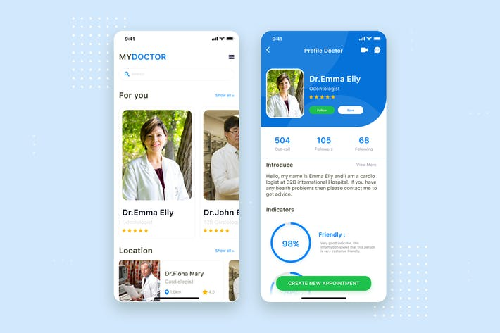 Thumbnail for Doctor App mobile UI Concept