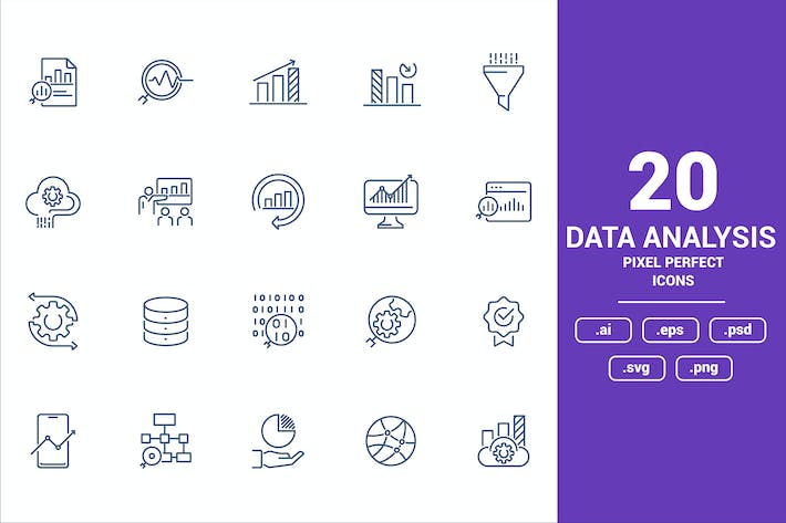 Thumbnail for Flat line icons design - Data Analysis