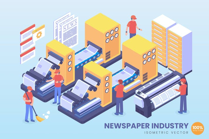 Thumbnail for Isometric Newspaper Industry Vector Concept