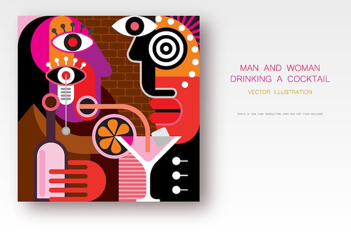 Thumbnail for A Man and a Woman Drinking Cocktail vector artwork