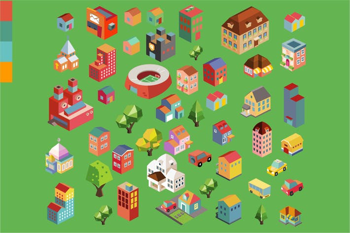 Thumbnail for Colorful vector isometric city