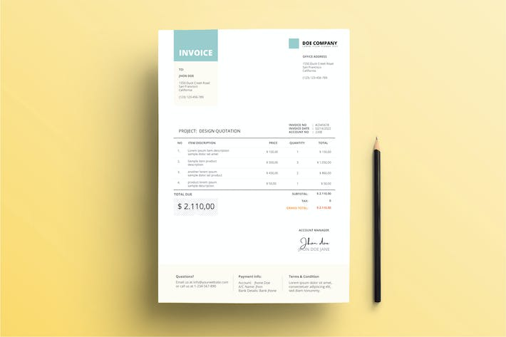 Thumbnail for Invoice Business with Teal color accent