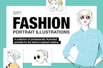 Ilustraciones de retrato de moda