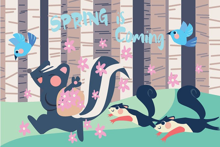 Cover Image For Spring is Coming - Vector Illustration