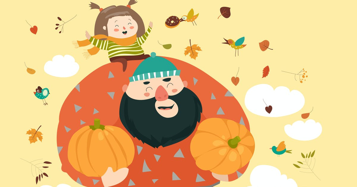 Download Dad and his daughter with pumpkin. Vector by masastarus