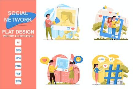 Ilustraciones Red Social Concepto de Diseño Plano