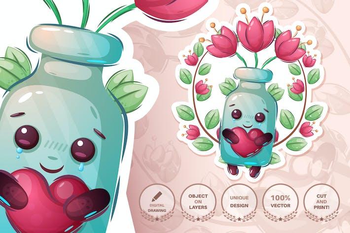 Süße Flasche mit Blume