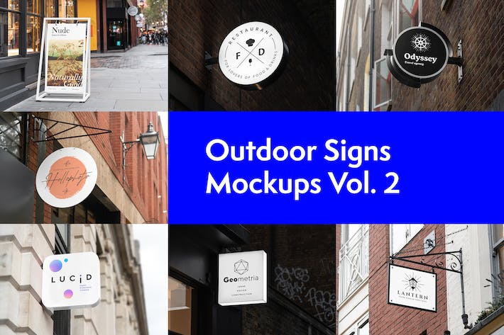 Thumbnail for Outdoor Signs Mockups Vol. 2
