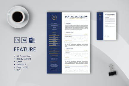 Professional CV And Resume Template Anderson