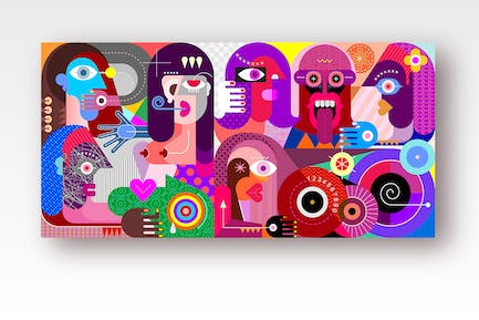 Large Group of People with Drumsvector artwork