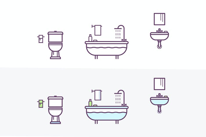 Thumbnail for Bathroom Vector Icons Set in the Style of Line Art