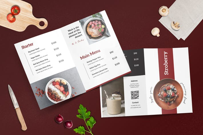 Cover Image For Bifold Restaurant Menu Template