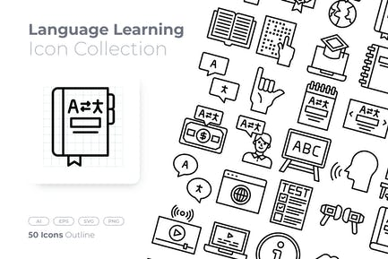 Language Learning Outline Icon