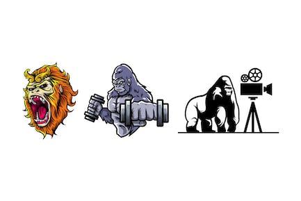 Ape Mascot Design Bundle