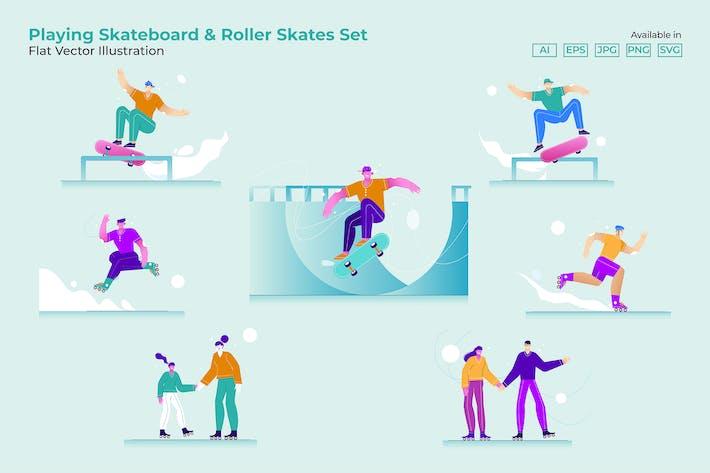 Thumbnail for Playing Skateboard & Roller Skates Set Flat Vector